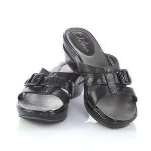 Cole Haan Black Leather Slip On Sandals Slides